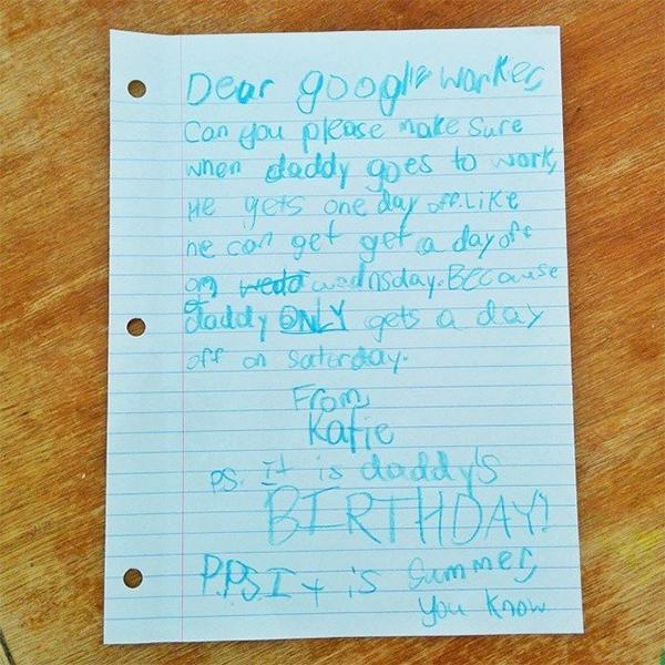 Google, работа, лето, отпуск, Маленькая девочка выпросила у Google выходной для папы